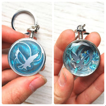 blue ravenclaw keychain, front and back view eagle keyring