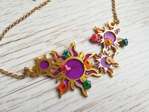 Rapunzel inspired sun motif necklace - Geek And Artsy