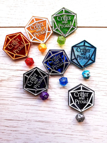 Critical role fan badge, critter keychain, d20 pin - Geek And Artsy