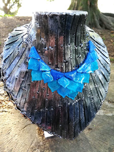 Mermaid scales necklace- blue tones - Geek And Artsy