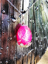 Pink Dragon egg pendant with metal filigree detailing - Geek And Artsy