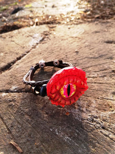 Red Dragon eye leather bracelet - Geek And Artsy