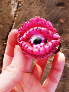 Pink Dragon eye leather bracelet - Geek And Artsy
