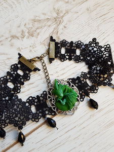 Green Dragon Hatchling choker - Geek And Artsy