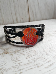 Fire nation leather bracelet, avatar last airbender cuff - Geek And Artsy