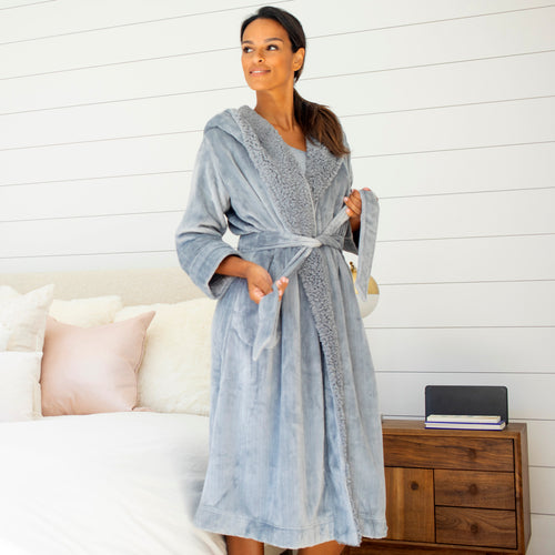 Sherpa Hooded Robe with Tonal Trim