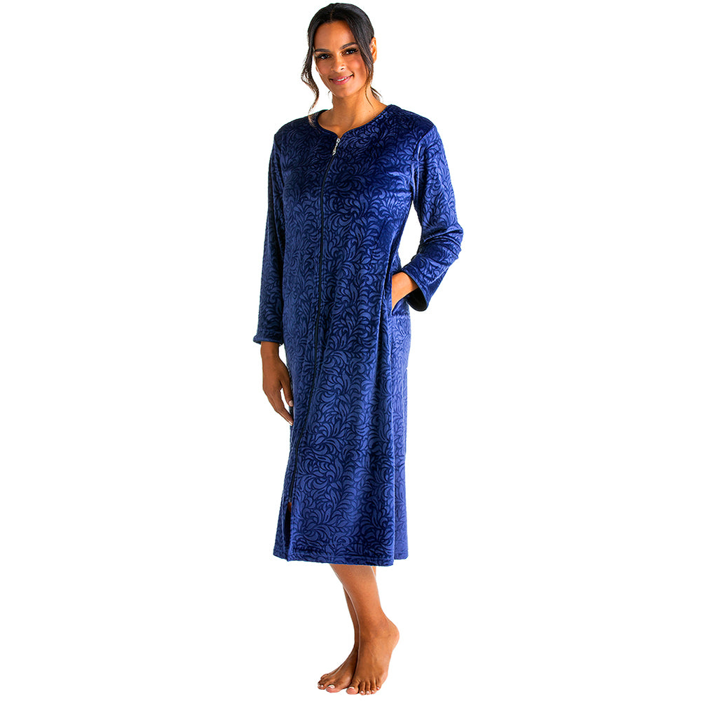 Floral Embossed Serenity Zip Robe