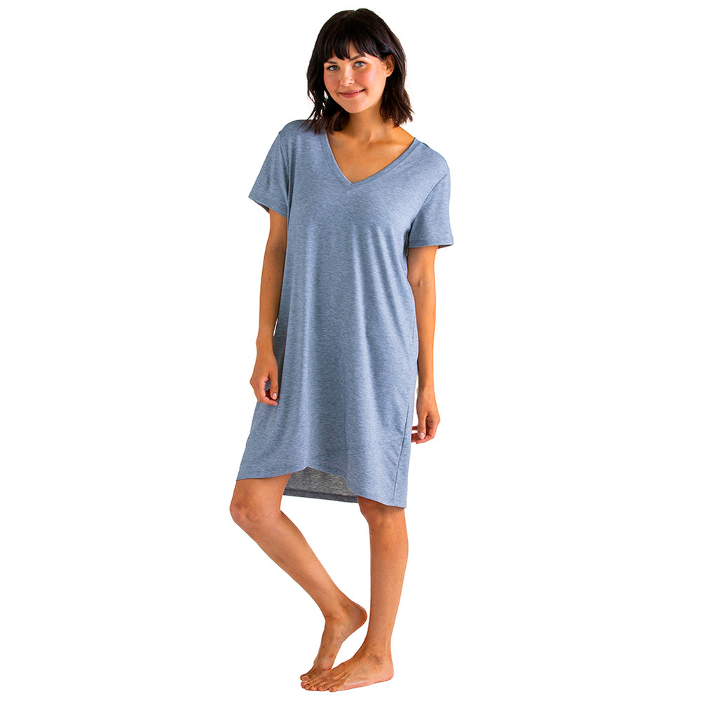 Tully - Vneck Night Shirt with Tulip Hem