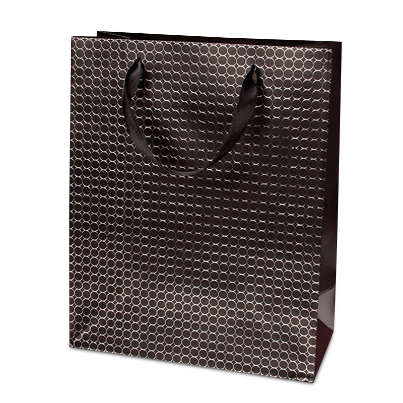Black Metallic Circles XL Totes Pack of 12