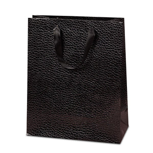 Black Metallic Snake Embossed Medium Totes Pack of 10