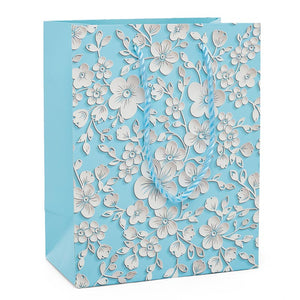 Blue Embossed Flowers Medium Totes Pack of 12