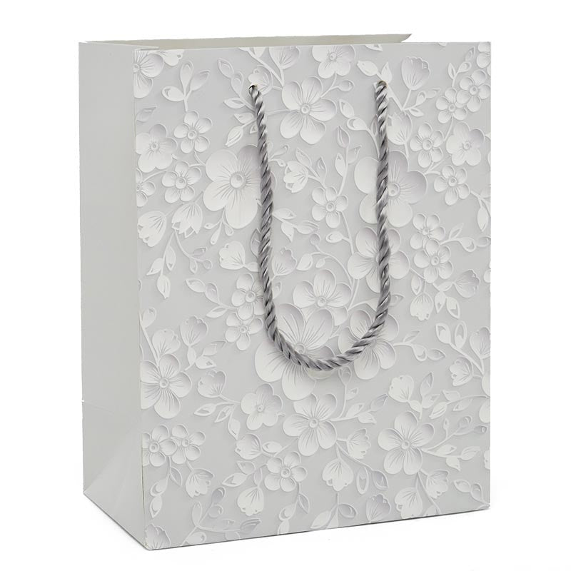 Silver Embossed Flowers Medium Totes Pack of 12