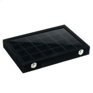 Velvet Covered Glass Top Utility/ Compartment Tray