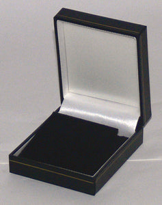 Classic Leatherette-look Earring/ Pendant boxes Black  Box of  24