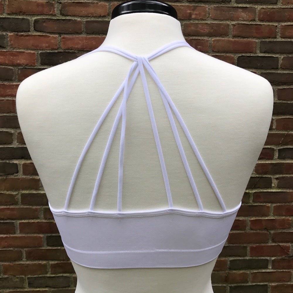 """The Zoey"" Strappy Racerback Padded Sports Bralette"