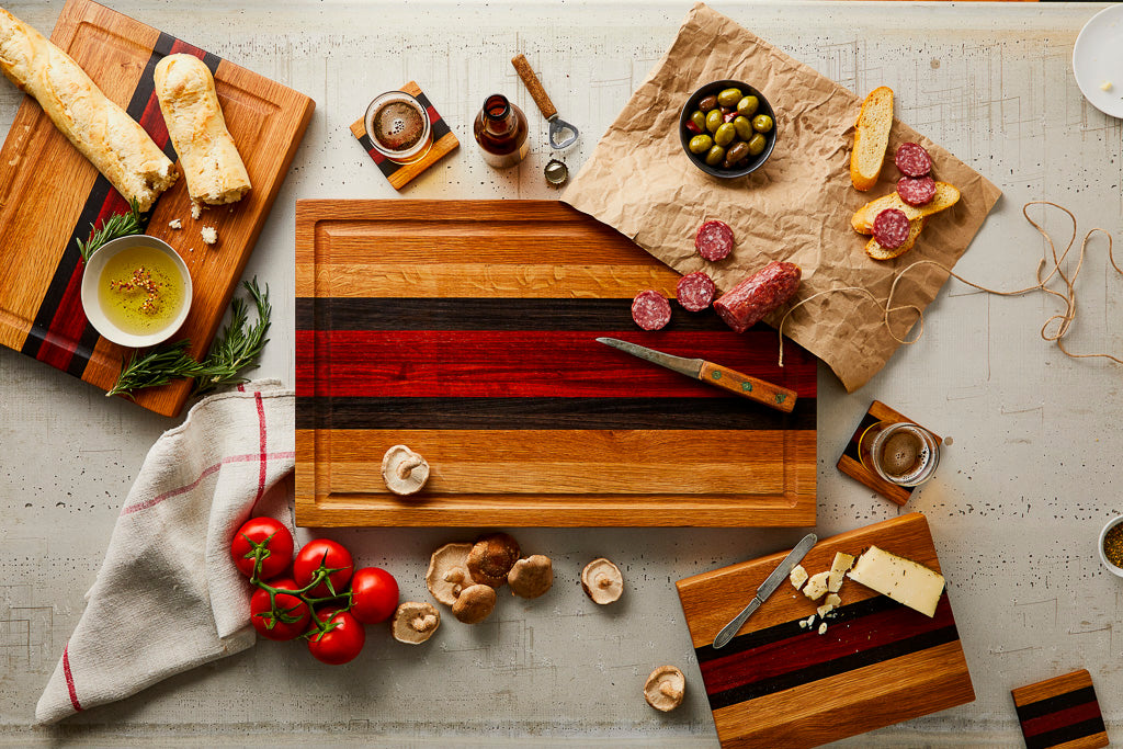 wood cutting boards, cheese boards, butcher blocks, and coasters
