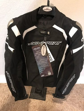 AGV Sport Misano Perforated Leather Jacket Black/White Size 44 US / 54 EU / Med