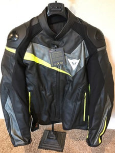 Dainese Veloster Leather Jacket Black/Anthracite/Flo Yellow Size 50 EU