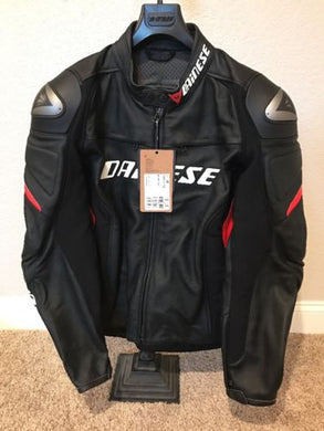 Dainese Racing D1 Leather Jacket Black/Black/Red Size 58 EU/48 US/XL