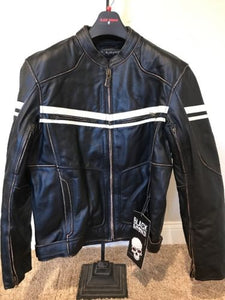 Black Brand Cutthroat Leather Motorcycle Jacket - Brown - Medium