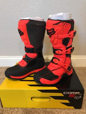 Fox Racing Youth Comp 5 Boots Orange Size 3 US