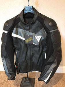 Dainese Veloster Leather Jacket Black/Anthracite/White Size 58 EU / 48 US / XL