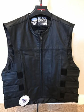 Black Brand Pinion Leather Motorcycle Vest - Black - Large