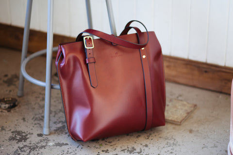 oxblood tote