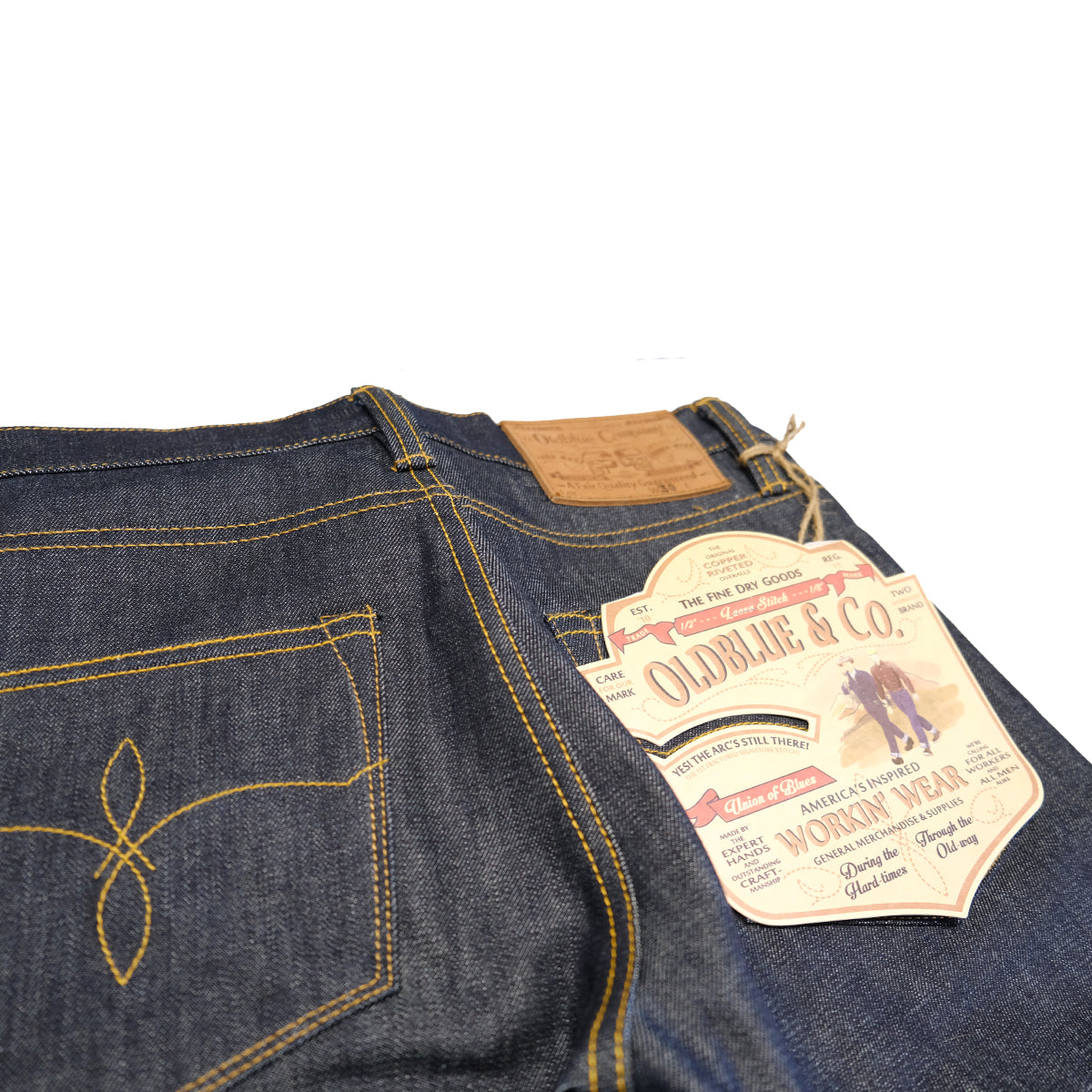 "7.75"" Cut 14 oz. Indigo White Oak Cone Mills Selvedge Denim Jeans"