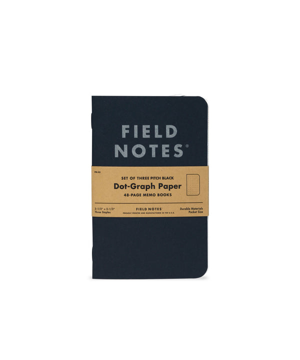 Pitch Black Memo Book (Ruled) - 3 Pack