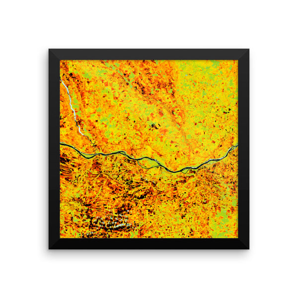 European Carpet Satellite Image Falsecolor Framed poster