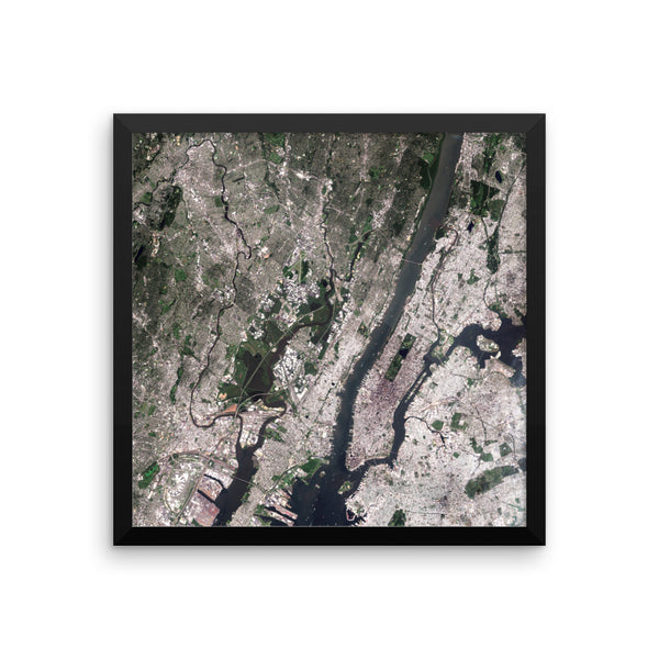 New York Satellite Image Framed poster