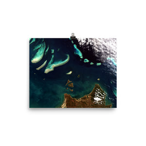 Great Barrier Reef Satellite Image Poster