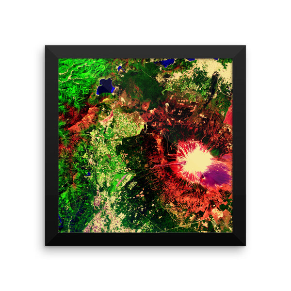 Fuji Satellite Image Framed poster