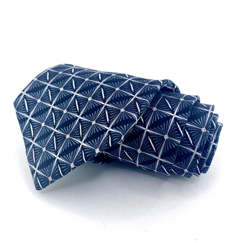 Caplan's Tie Teal/Blue Silk Geometric Pattern