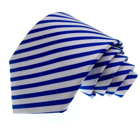 Knot Around Your Neck Tie Blue White Striped Pattern