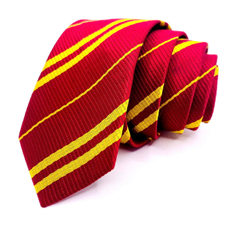 Red Tie Skinny Silk Gold Striped Pattern