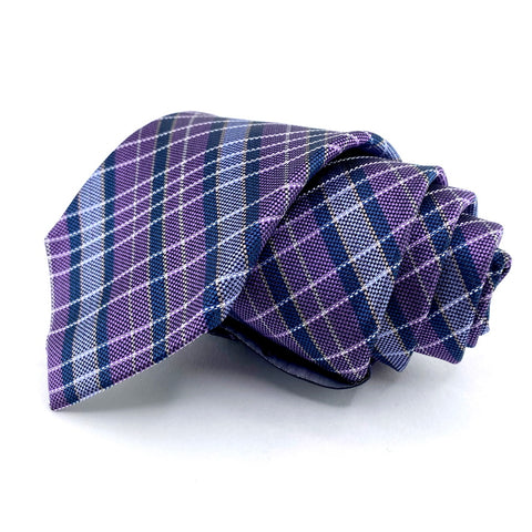 Stafford Tie Silk Purple Tartan Pattern