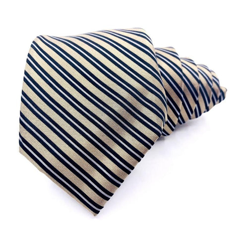 Chaps Tie Silk Gold Striped Pattern Slim