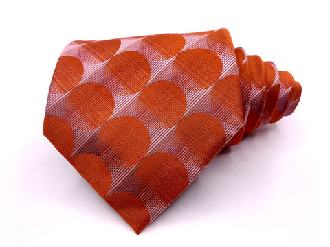 Steven Land Tie SLC Classic Orange Geometric Pattern