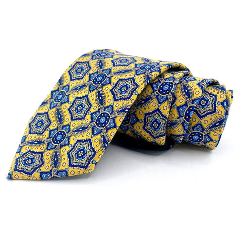 Burma Bibas Tie Yellow/Blue Geometric Pattern