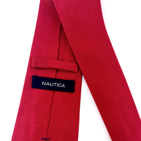 Nautica Tie Silk Red Geometric Pattern