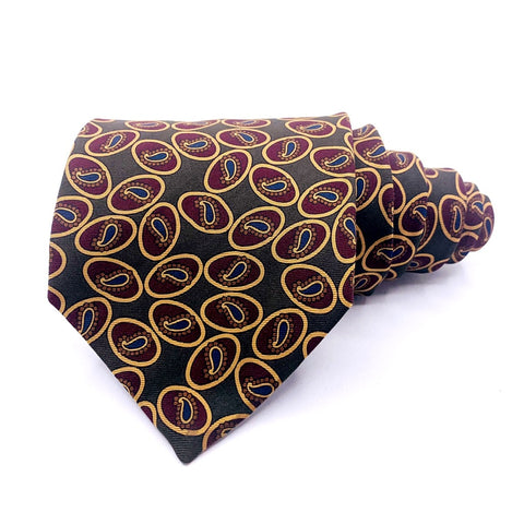 Huntington Tie Olive Mini Paisley Pattern