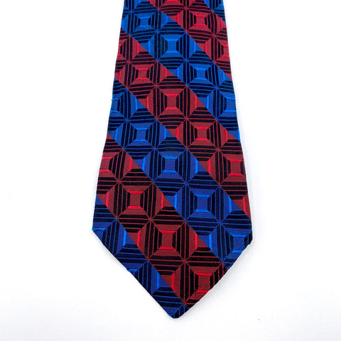 Rhodia Tie Red Blue Geometric Pattern Made In Italy