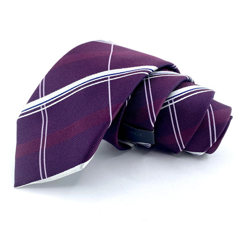 Tattersall Soho Tie Purple Windowpane Pattern