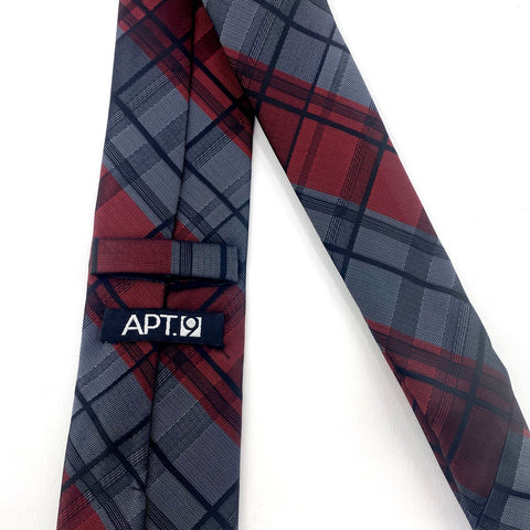 Apt 9 Tie Red Grey Tartan Pattern