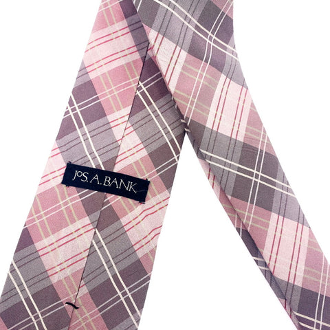 Jos A Bank Tie Silk Grey Tartan Pattern