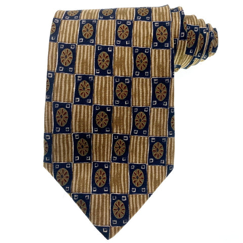 Today's Man Tie Silk Gold Geometric Pattern