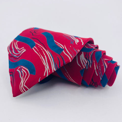 L'UOMO Tie Silk Red Blue Abstract Pattern