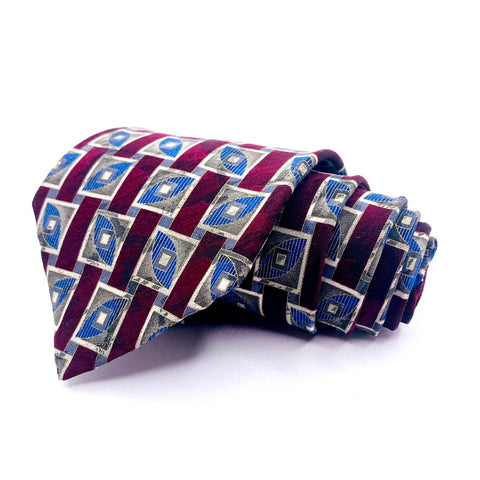 J. Ferrar Tie Silk Geometric Pattern Made In Italy